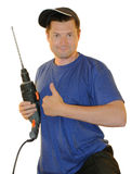 Portrait of worker with perforator. Portrait of worker, getting on the hip instruments Stock Images