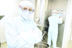 Portrait of worker  at pharmaceutical factory Royalty Free Stock Photo