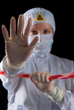 Portrait of a worker in protective clothing prevents entry Stock Photo