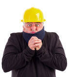 Portrait of a worker suffering cold. On white background Stock Photos