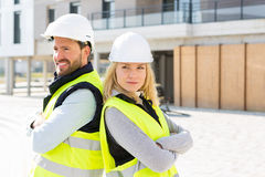 Portrait of a worker team at the end of the construction. View of a Portrait of a worker team at the end of the construction Royalty Free Stock Image