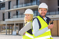 Portrait of a worker team at the end of the construction. View of a Portrait of a worker team at the end of the construction Royalty Free Stock Photography