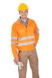 Portrait of worker wearing safety jacket Stock Photos