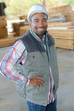 Portrait worker in woodyard Stock Photography