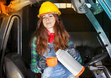 Portrait of a worker young girl on coffee break Stock Image
