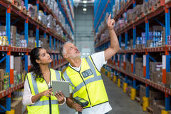 Portrait of workers are looking up and pointing shelves Royalty Free Stock Photos