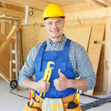 Portrait of workman. With adjustable wrench Stock Images
