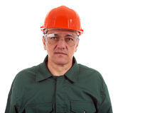 Workman in overalls and helmet showing different g Royalty Free Stock Photo