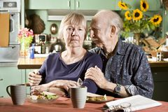Portrait of Worried Senior Couple Royalty Free Stock Photography