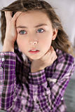 Portrait of worried young girl Stock Photo