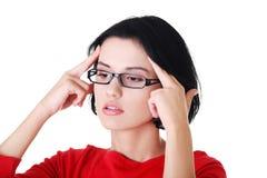 Portrait of worried woman in eyewear Stock Image