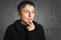Portrait of worried woman Stock Photo