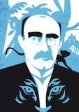 Portrait of writer Rudyard Kipling, vector illustration. Vector illustration, portrait of english writer Rudyard Kipling, famous novelist, nobel prize, the Stock Photo