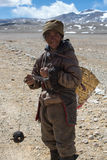 Portrait of a Yak man working in Tibet Stock Photos