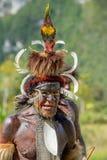 Portrait of Yali Mabel, the chief of Dani Dugum tribe. DANI VILLAGE, WAMENA, IRIAN JAYA, NEW GUINEA, INDONESIA, 4 JUNE 2016: Close up Portrait of Yali Mabel royalty free stock images