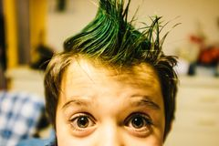 Portrait of 9 year old baby boy with crest of green colored hair. Portrait of 9 year old boy at home with crest of green colored hair Royalty Free Stock Photography