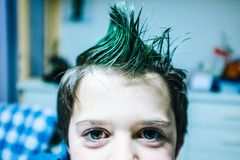 Portrait of 9 year old baby boy with crest of green colored hair. Portrait of 9 year old boy at home with crest of green colored hair Stock Image