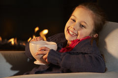 Portrait 7 year old girl by firelight Royalty Free Stock Images