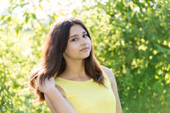 Portrait of 14 year old girl outdoors on a sunny day Stock Photography
