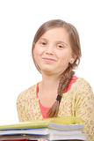Portrait of a 11 year old schoolgirl on a white background Royalty Free Stock Image