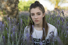 Portrait of a 15 year old teenage girl. Photographed among lavender plants Stock Photography