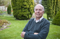 Portrait of 95 years old english man in his garden Royalty Free Stock Image