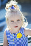 Portrait of 2 years old kid on blue background. Portrait of 2 years old kid, on blue background Stock Images