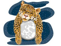 Portrait of yellow leopard with spots that is sleeping on the white moon with gray with a blue background of stars type artistic d vector illustration
