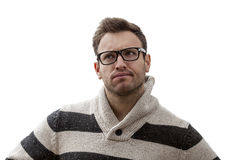 Portrait of a Yound Perplexed Man Stock Image