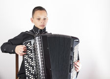 Portrait of young accordionist Stock Photo