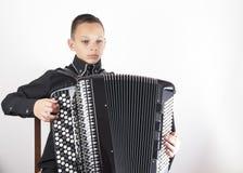 Portrait of young accordionist Stock Photo