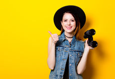 Portrait of young adult woman in hat with binocular Royalty Free Stock Photos