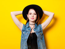 Portrait of young adult woman in hat Royalty Free Stock Photography