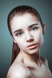 Portrait of young adult woman with health skin of face Stock Photo