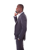 Portrait of a young African American business man making a mobil Royalty Free Stock Images