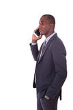 Portrait of a young African American business man making a mobil Stock Images