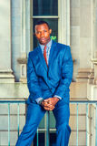 Portrait of Young African American Businessman in New York. Royalty Free Stock Photos