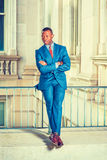 Portrait of Young African American Businessman in New York. Royalty Free Stock Images
