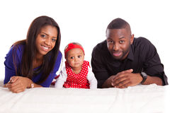 Portrait of a young african american family - Black people Stock Images
