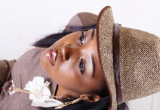 Portrait Young African American Woman With Hat Stock Images