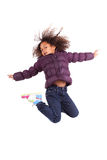 Portrait of Young African Asian  girl jumping Stock Image