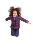 Portrait of Young African Asian  girl jumping Royalty Free Stock Image