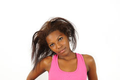 Portrait of young african female stock images