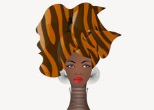 Portrait of the young African woman in a colorful turban. Wrap Afro fashion, Ankara, Kente, kitenge, African women dresses. Portrait of the young African woman Stock Images