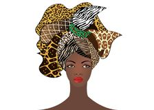 Portrait of the young African woman in a colorful turban. Wrap Afro fashion, Ankara, Kente, kitenge, African women dresses animal. Portrait of the young African vector illustration