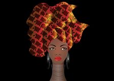 Portrait of the young African woman in a colorful turban. Wrap Afro fashion, Ankara, Kente, kitenge, African women dresses. Portrait of the young African woman Stock Photos