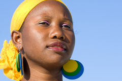 Portrait of young african woman with scarf Royalty Free Stock Images