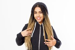 Portrait of young afro american teenager girl wearing black hoody stock photos