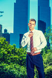 Portrait of Young American Businessman working in New York Royalty Free Stock Photos
