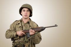 Portrait of young American soldier, ww2 Royalty Free Stock Photography